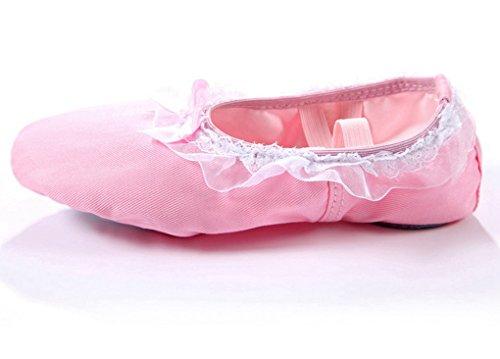 Farfalla e Rosa Scarpe Ragazze Tela Merletto con Ginnastica Danza Yoga Cherry Bambine Balletto Happy Bwq6U6