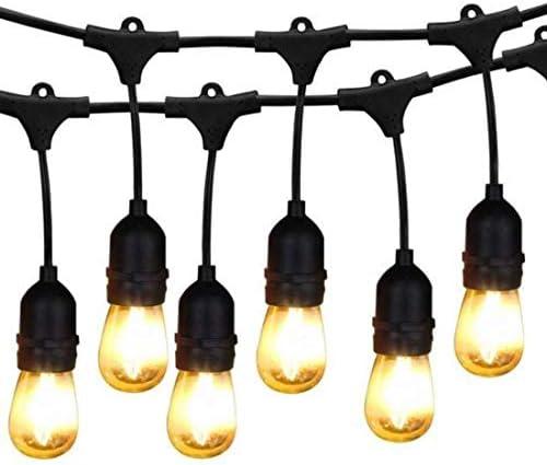 bulbeats 48FT LED Outdoor String Lights, 15 Hanging E26 sockets Waterproof Patio Lights, 2200K WarmWhite, UL Polar Plug, Hanging in Cafe Bistro Gazebo Garden Backyard Light Bulbs Include