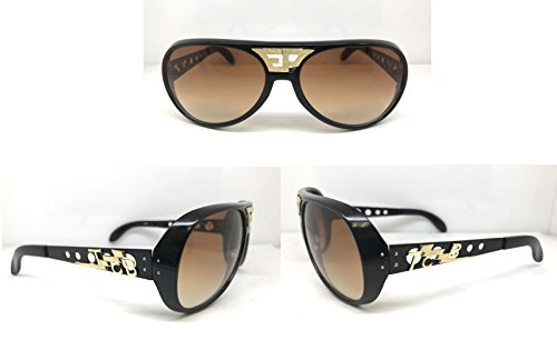 ELVIS SUNGLASSES BLACK BROWN ORIGINAL GOLD EP TCB GRAND PRIX - Tcb Sunglasses