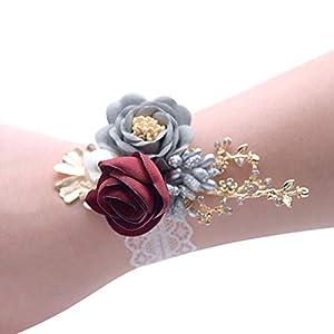 Silk Flower Arrangements 2Pcs Wedding Prom Party Girls Bridesmaid Wrist Flowers Corsage Bracelet Fabric Hand Flowers Wedding Supply Accessories,Wine Red