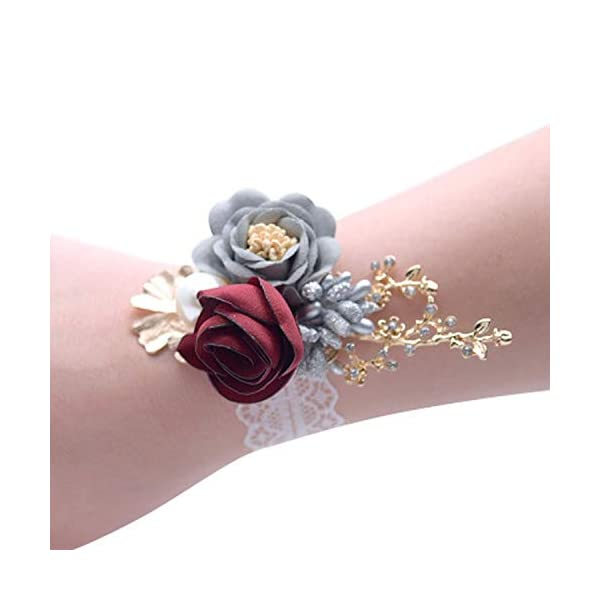2Pcs Wedding Prom Party Girls Bridesmaid Wrist Flowers Corsage Bracelet Fabric Hand Flowers Wedding Supply Accessories,Wine Red