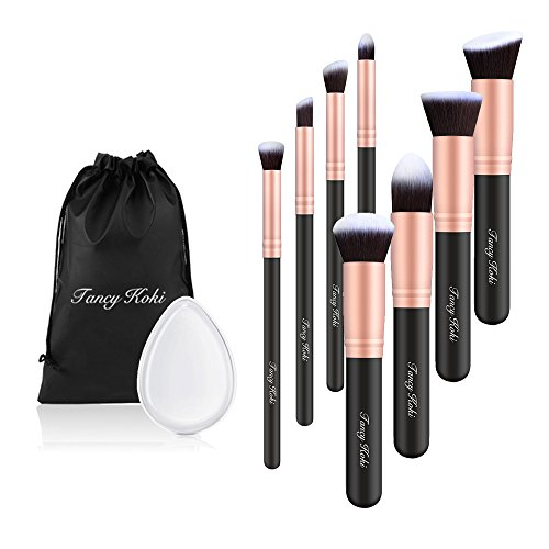 8pcs Makeup Brushes Powder Foundation Eyeshadow Blush Contour Brush Set (Gold) - 8