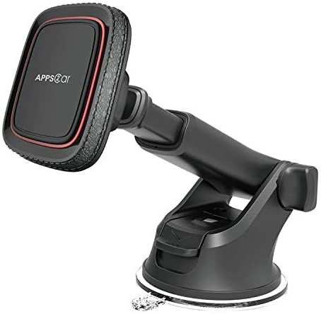 Magnetic Phone Car Mount,APPS2Car Universal Dashboard Windshield Industrial-Strength Suction Cup Car Phone Mount Holder with Adjustable Telescopic Arm,6 Strong Magnets,for All Cell Phones