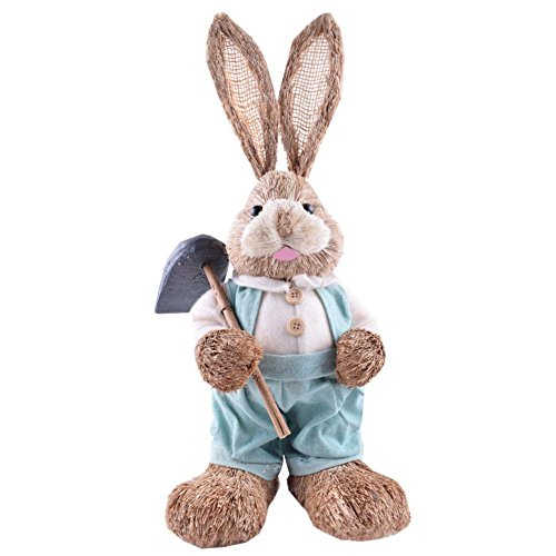 BleuMoo 1Pc Straw Easter Bunny Rustic Easter Decorations (Straw Bunny)