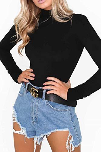 Almaree Long Sleeve Bodysuit for Women Turtleneck Basic Cotton Leotard Black M by Almaree (Image #2)