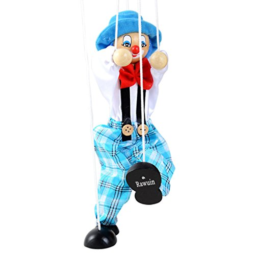 [Rawuin Pull String Puppet Clown Wooden Marionette Toy Joint Activity Doll Vintage Child] (Mario Open Tennis Costumes)
