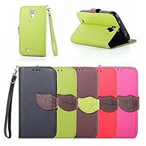 LHY Leaf Buckle Pattern PU Leather Full Body Case with Card Slot And Stand for Samsung S4 I9500 (Assorted Colors) , Rose