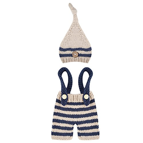 MSFS Baby Photo Costume Crochet Outfits Cute Photograph Props for Boy Girls (Striped set)