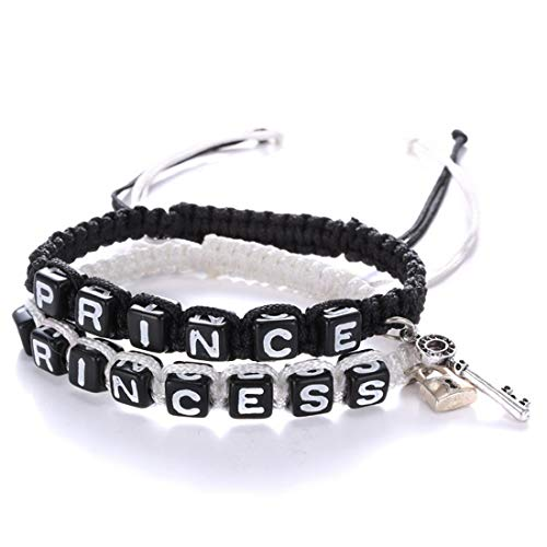 2Pcs Infinity Distance Couple Braided Handcrafted Luck Bracelet Bangle Adjustable Rope His and Hers Wristband Wrist Jewelry-Princess ()