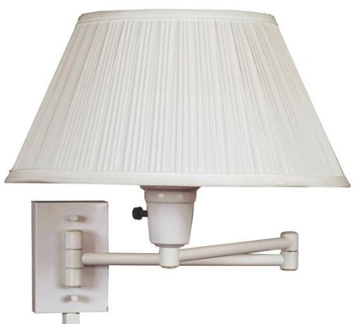 Kenroy Home 30110WHWH-1 Simplicity Wall Swing Arm Lamp, White (Traditional Swing Arm Wall Lamp)