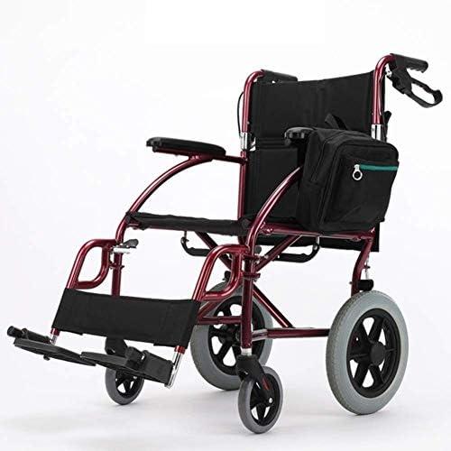 軽量調整可能な折りたたみ車椅子運転医療、車椅子高齢者小さなアルミニウム合金ポータブル障害者旅行多機能ハンドスクーター