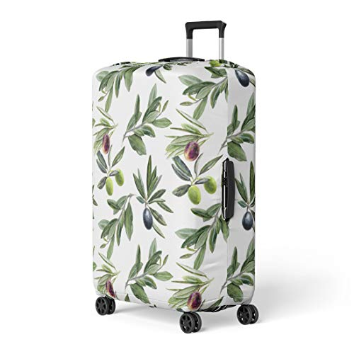Semtomn Luggage Cover Green Leaf Olives Branches Watercolor Branch Antioxidant Berry Biological Travel Suitcase Cover Protector Baggage Case Fits 18-22 Inch