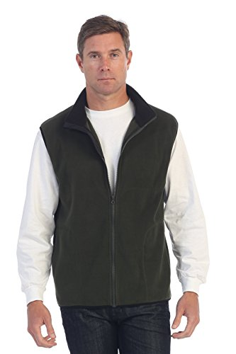 Gioberti Men's Full Zipper Polar Fleece Vest, Olive, Large - Weather Microfiber Jacket