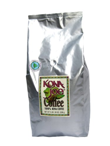 Kona Joe Coffee Kainaliu Medium Roast, Whole Bean, 5-Pound Bag