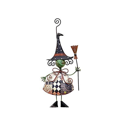 Indoor Outdoor Metal Halloween Hanging Door Decorations and Wall Signs Decor, Haunted House Decor for Home School Office Party Favors Halloween Party Supplies (Halloween Scarecrow Witch) -