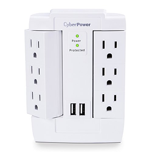 CyberPower CSP600WSURC2 Surge Protector 1200J125V 6 Swivel Outlets 2 USB Charging Ports Wall Tap Design