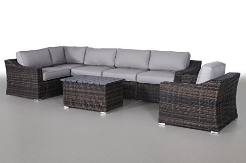 Century Modern Outdoor Marina Collection Patio Furniture Sofa Garden, Sectional Furniture Set Resort Grade Furniture. No Assembly Required [CM-5909] (7 Piece (Conversation Set), Marina Brown) - ✓ 100% SATISFACTION GUARANTEE: We provide a 100% satisfaction money back guarantee. We stand behind the quality of our products and customer service. DURABLE MATERIAL: Constructed with quality aluminum, water resistant fabric and woven grey wicker to ensure a long lasting patio sofa set. EASY TO WASH CUSHIONS INCLUDED: 5-inch thick ultra soft seat cushions for comfortable outdoor patio seating. Cushions come with zippers for easy removal and are machine washable. - patio-furniture, patio, conversation-sets - 41bJljEfpqL -