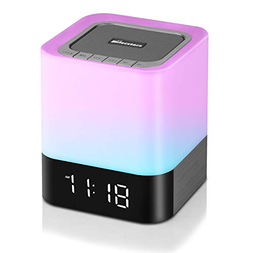 Elecstars Alarm Clock, Night Light Bluetooth Speaker, Touch Sensor Bedside Lamp, Color Changing Dimmable Table Lamp with 4000mAh Battery Support MP3 USB AUX Best Gift for Men Women Kids Party Bedroom