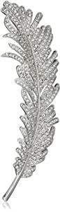 "CZ by Kenneth Jay Lane ""Vintage"" Cubic Zirconia Vintage Feather Brooch, 8 CTTW"