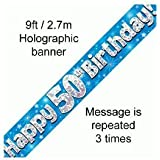 9ft Blue & Silver Stars Holographic Happy 50th Birthday Banner (2.7m length)