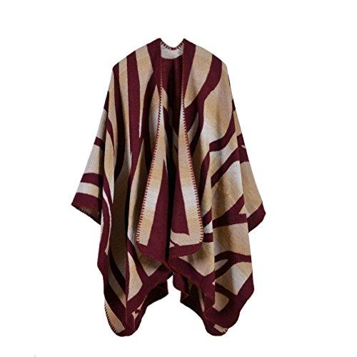 (Bakerdani Women's Winter Wrap Blanket Poncho Cape Shawl)