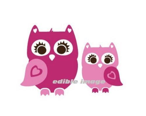 Cute Pink Owl Edible Cake Image Topper by Kopykake -