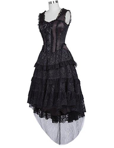 Gothic schwarz Schwarz Kleid Damen Belle Steampunk Poque Bp353 Kleid Lang Corsagenkleid 1 aRnqnP5