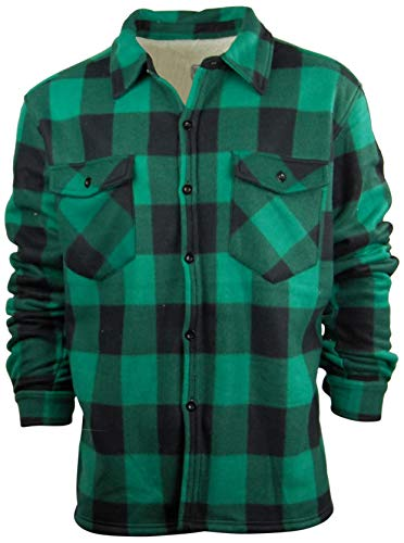 Oakwood Mountain Big and Tall Men's Plaid Shirt Jacket with Sherpa Fleece Lining | Button Up Front (Medium, Green ()