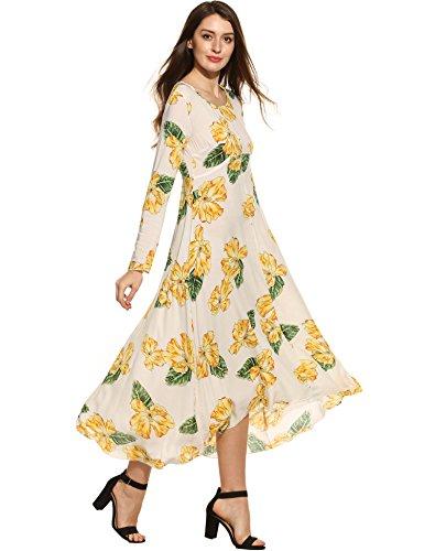 (Zeagoo Women Long Sleeve Print Crew Neck Pullover Vintage Style Maxi Beach)
