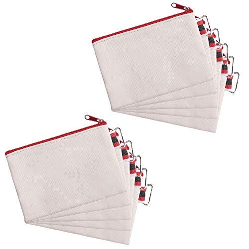 - Bluecell 10pcs White Color Canvas Small Zipper Blank Coin Purses Pouches, DIY Craft Bags (White Bag Red Zipper)