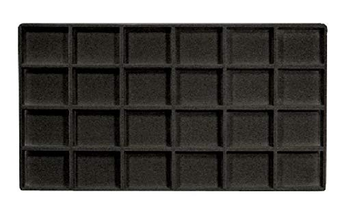 888 Display USA - 3 Pieces Black 24 Slot Coin Jewelry Showcase Display Tray Flocked Inserts
