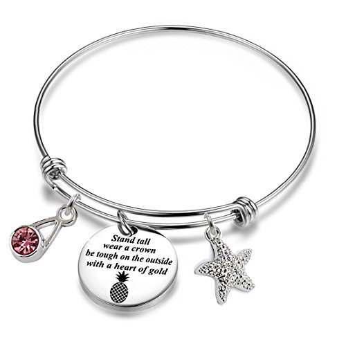 YOYONY Inspirational/motivational/LOVE/Memorial/Thankful/Beauty/Praise/Religious/Friendship Meaningful Message Charm Bracelets (Be a pineapple stand tall wear a crown)