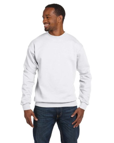 7.8oz ComfortBlend Fleece Crew, White, S