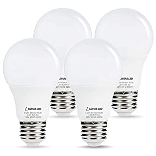 L LOHAS LED Dusk to Dawn Light Bulb, 6W(40W Equivalent) LED Outdoor Sensor Light Bulbs, Auto on/Off, A19 Daylight 5000K E26 LED Security Bulb, Dusk Till Dawn Indoor/Outdoor Lighting for Porch, 4 Pack