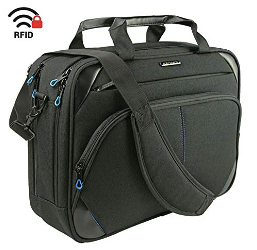 Business Laptop Case - KROSER Laptop Bag 15.6 Inch Laptop Briefcase Laptop Messenger Bag Water Repellent Computer Case Laptop Shoulder Bag Durable Tablet Sleeve with RFID Pockets for Business/College/Women/Men-Black/Blue
