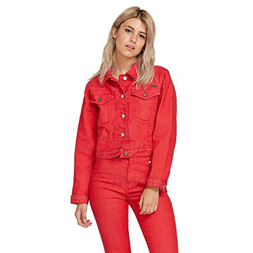 (Volcom Junior's Women's George May Jagger Shrunken Denim Jacket, red Large)