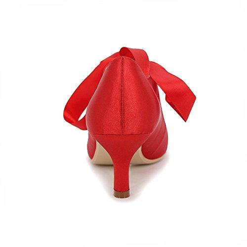 Lazo Tacón Cinta La Blue Boda Con yc Alto De L Medio Dedo Bombas Cerrado Superior Mujer Pie Talón Carrete Novia Satén Zapatos Del UqRTZ