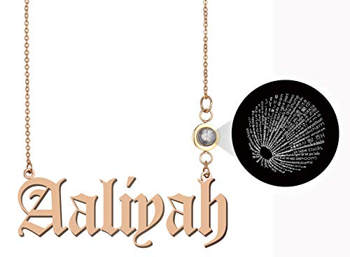 Personalized 100 Languages Projection Necklace Any Name Aaliyah Love Pendant Jewelry Gifts (Aaliyah Glasses)