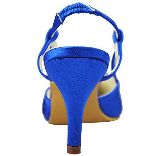 Toe Wedding Heel Strappy Evening 7cm Womens Inch GYAYL118 Party 5 Blue Shoes Heel Closed Satin Minitoo Pumps 2 Bridal wqpx0XAq7