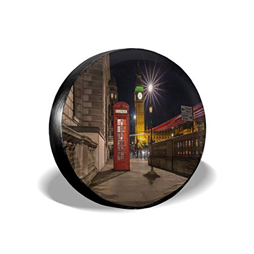 GAGH Spare Tire Cover London Red Phone Box Big Ben Street Scene Night 17 Inch Universal Spare Wheel Tire Cover Fit for Jeep, SUV and Many ()