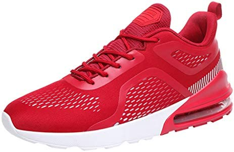Men Solid Casual Sneakers, Male Mesh Breathable Cushion Spor
