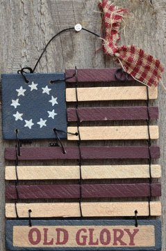 Old Glory Wood Slats Colonial Flag Mini Plaque Wire Hanger Americana Patriotic Country Primitive Décor