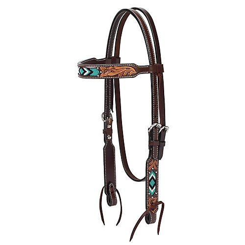 Western Tack (Turquoise Cross Turquoise Beaded Brow Band Headstall)