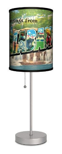 Travel - Alabama Postcard Sport Silver Lamp by Lamp-In-A-Box