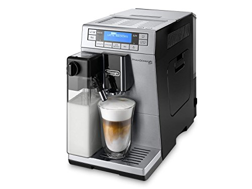 Delonghi PrimaDonna XS Super Automatic Espresso Machine with Cappuccino System, Memory Function, Two Boilers and Active Cup Warmer, Silver and Black, ETAM36365