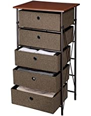 SortWise Dresser Storage Unit Iron Framed Easy Assemble Nightstands Shelf with 5 Storage Bins for Bedroom Organized