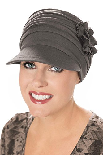 Cardani Florette Newsboy Hat in Luxury Bamboo by Cancer Hats, Chemo Caps Luxury Bamboo - Heather Taupe -