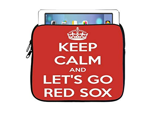 Debbie's Designs Let's Go Red Socks World Series 2018 7.5x8 inch Neoprene Zippered Tablet Sleeve Bag iPad, Kindle, Tab, Note, Air, Mini, Fire