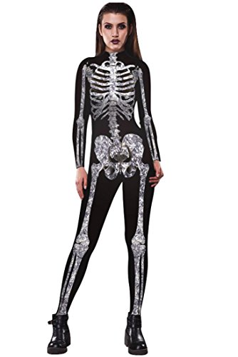 URVIP Women Halloween Skeleton Costume Stretch Skinny Catsuit Jumpsuit Bodysuit BAX-003 S -