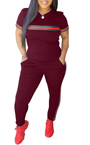 (Women 2 Pieces Outfits Short Sleeve Top Sweatshirts and Bodycon Long Pants Set Tracksuits Sweatsuits Wine Red L)